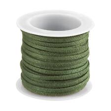 3 mm Cavo Piatto in finta pelle scamosciata verde oliva in pizzo su una bobina 5 metri (F90)
