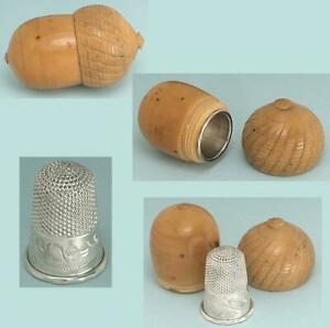 Antique Vegetable Ivory Acorn &  Sterling Silver Thimble * English * Circa 1870