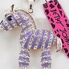 Betsey Johnson Necklace Zebra Purple WITH CRYSTALS and GOLD Africa Safari