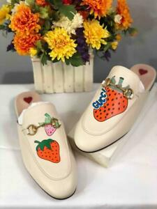 NIB~GUCCI Women's Princetown Strawberry Prints Mule Shoes EU 37/ US 7
