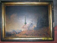 Bild Kirche Landschaft , sehr alt , Antik ,mit Signatur , guter Zustand