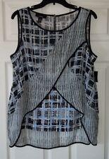 $59 NWT Alfani Layered Grid Womens Cross Front Hi-Low Hem Back Zip Top Size 12