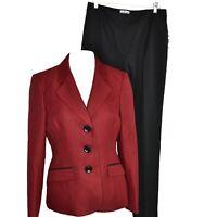 Le Suit Womens Professional 2 Piece Jacket & Pant Suit Size 6 Red Black NWT
