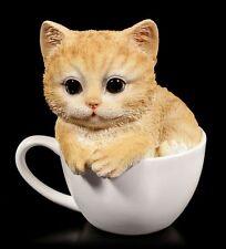 Süße Katzen Figur - Gelbes Kätzchen in Tasse - Baby Kitten Deko