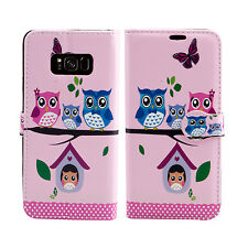 Leather Wallet Flip Book Protect Case Cover 4 Samsung Galaxy S7 Edge S6 Edge Plus Owl Family - Many Owls Group Lots Bird Wildlife
