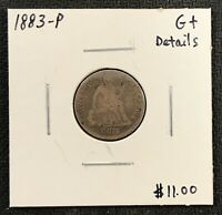 1883-P U.S. SEATED LIBERTY DIME ~ GOOD PLUS DETAILS! $2.95 MAX SHIPPING! C1759