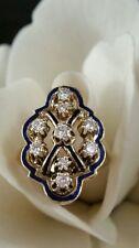 VTG 14k Yellow Gold Blue Enamel & Diamond Ring