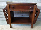 Antique Vintage Scroll Cut Wood 2 Tier End Side Table w  Magazine Rack  Drawer