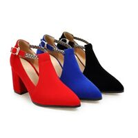 Women's Ankle Strap Faux Suede High Heels Pointed Toe Buckle Casual Shoes New