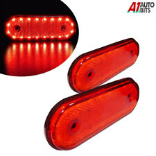 2x 12v Oval 20 Led Red Rear Side Outline Marker Lamps Lights Trailer Truck Lorry