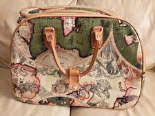 Via Vee World Classic Map Print Rolling Luggage/Duffel Bag with Wheels