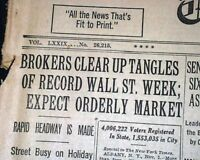 1929 STOCK MARKET CRASH Wall Street New York Financial Crisis in Old Newspaper