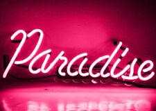 "New Pink Paradise Wall Decor Blue Artwork Handmade Acrylic Neon Sign 14"""