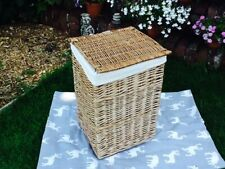 SMALL LIGHT STEAMED WILLOW SQUARE LAUNDRY BASKET WITH INTEGRAL HANDLES & LINING