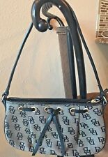 DOONEY & BOURKE Black DB Signature Canvas Leather Trim Drawstring Evening Purse