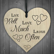 Live Well Laugh Much Love Often Wooden Hanging Heart Plaque Home Decor Gift Sign