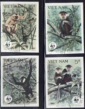 WWF MONKEYS PRIMATES used IMPERFORATED fr.NORTH VIETNAM 1987