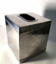 Hudson Boutique Square Metal Hammered Facial Tissue Box Cover Holder Silver