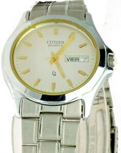 New Old Stock Citizen Round Watch White Face S/ Steel Day Date W-R 1102-B00659-D