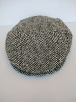 "Vintage Gramercy Wool Gray Tweed Newsboy Hat Mens Cap 22"" interior circumference"