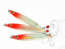 5PCS Glow Slow Jigging Jig Deep sea Fishing Lure Jigbait spoon feather hooh 20g