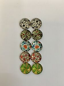 5 Pairs Of 12mm Cabochons #605