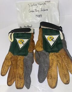 1989 GREEN BAY PACKERS STERLING SHARPE #84 PLAYER WORN FOOTBALL GLOVES