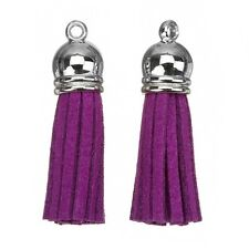 Suede Tassel Charms with Silver Cap for Jewellery & Crafts Purple 36mm (H19/4)