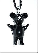 Collier pendentif verre style murano nounours kawaï bijou rigolo cadeau lampwork