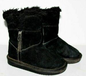 UGG Kookaburra Short Black Warm Lined Suede Boots Little Girls Sz 9 EUC~ Winter!
