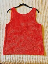 J.Crew Collection Sequin Tank Top in Bright Coral Size Medium. New With Tags.