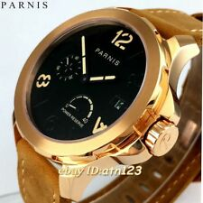 44mm Parnis Rose Gold Case Leather Strap Seagull Automatic Men's Watches 2231