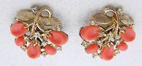 1956 CROWN TRIFARI Gold Tone Pebble Beach Coral Rhinestone Clip Earrings
