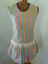 Vtg 60s Mod Psychedelic Op Art Stripe Print Drop-Waist Playsuit Mini Dress GoGo