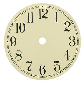 """New Round Ivory Metal Clock Dial - Choose from 4-1/2"""" to 7-7/8"""""""