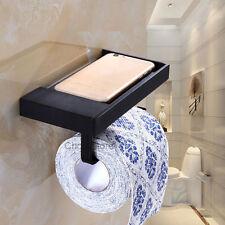 Black Matte Bathroom Paper Roll Holder Wall Mount Toilet Tissue Rack Phone Shelf
