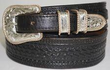 Vogt Ranger Belt With 4 Piece Sterling Silver .925 Buckle Set Size 32-33