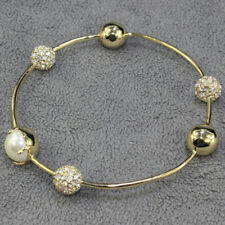 Alexis Bittar Crystal Encrusted Orbiting Sphere Bangle Bracelet Gold With Pearl