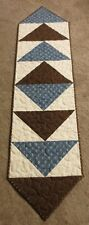 """Hand Made Quilted Table Runner/Topper ~ 12"""" x 46"""" ~ 100% Cotton ~ Blue,Brown"""