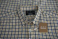 Barbour Heritage Tattersall White Blue Yellow Plaid Slim Cotton Shirt 2XL *NEW*