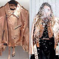 ZARA Rose Gold Metallic Leather Biker Jacket With Zip Studded Medium M
