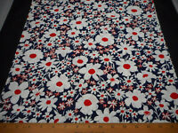 """Vintage 1930s Fabric  By The Half-Yard Ivory Red Floral on Navy 34"""" Wd Cotton"""