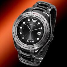 EMPORIO ARMANI BLACK TONE+SILVER INTERNATIONAL TIME ZONE BEZEL WATCH AR0587+BOX