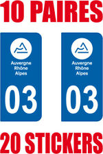 20 STICKERS AUTOCOLLANT DEPARTEMENT 03 PLAQUE IMMATRICULATION