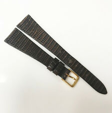 Regular Lizard 16mm Genuine Brown Tone Leather Gold Buckle Watch Band