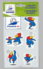 rare plaquette 6 magnets mascotte coupe du monde de football 1998 officiel
