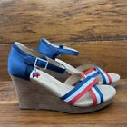 Toms Womens Ankle Strap Sandal Wedge Heels Shoes Blue Red Patriotic Open Toe 11