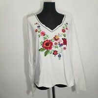Heavily Embroidered Floral Birds Womens Blouse Top Size M L Boho Long Sleeve