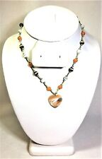 Vintage Necklace of Beads on Green Cord with Mother of Pearl Heart 16 In.