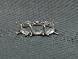 925 Sterling Silver Semi Mount Ring Setting 7 mm round 3 Stone High Polished